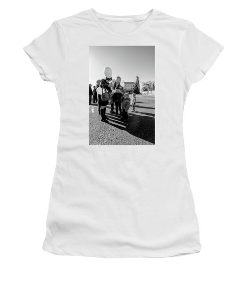 Women's T-Shirt (Athletic Fit) featuring the photograph Woman Balloon And Boy by John Williams