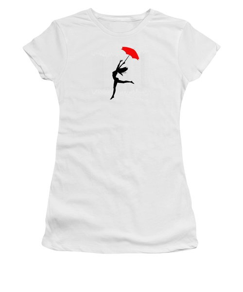 Woman Dancing In The Rain With Red Umbrella Women's T-Shirt (Athletic Fit)