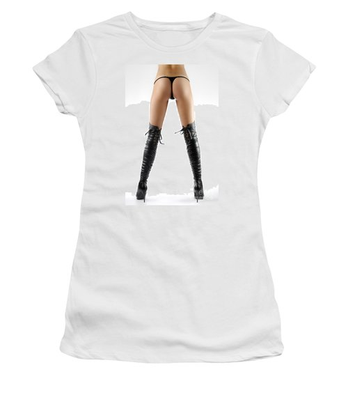 Woman Legs In Black Sexy Thigh High Stiletto Boots Women's T-Shirt (Athletic Fit)