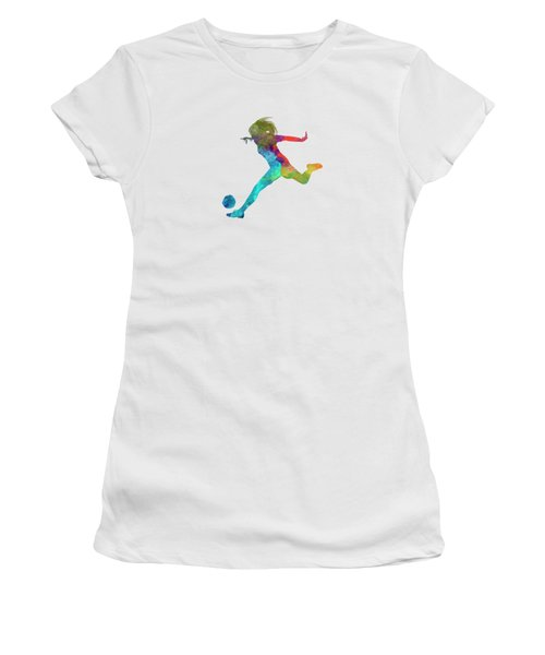 Woman Soccer Player 01 In Watercolor Women's T-Shirt (Junior Cut) by Pablo Romero