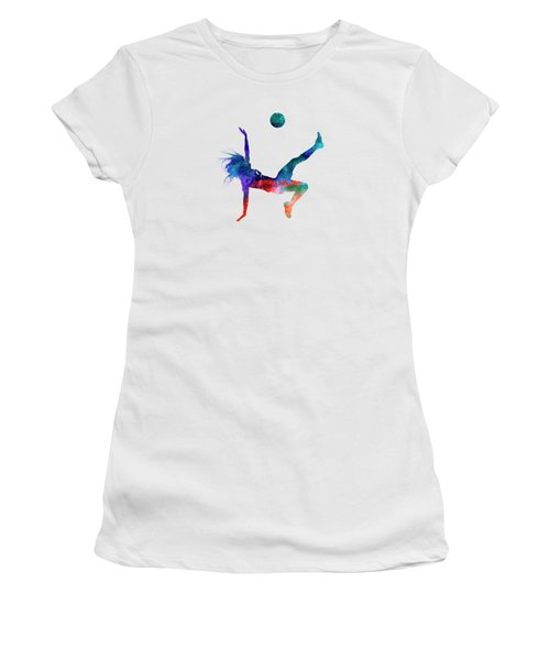 Woman Soccer Player 08 In Watercolor Women's T-Shirt (Junior Cut) by Pablo Romero