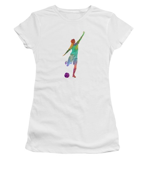 Woman Soccer Player 09 In Watercolor Women's T-Shirt (Athletic Fit)
