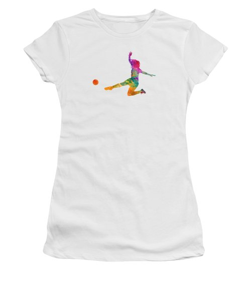 Woman Soccer Player 11 In Watercolor Women's T-Shirt (Athletic Fit)