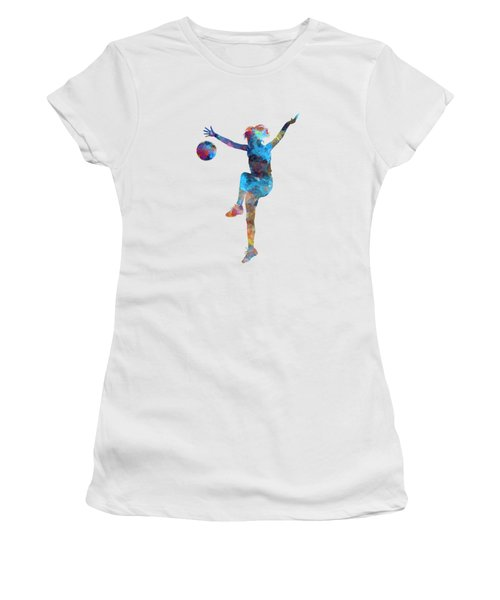 Woman Soccer Player 12 In Watercolor Women's T-Shirt (Athletic Fit)