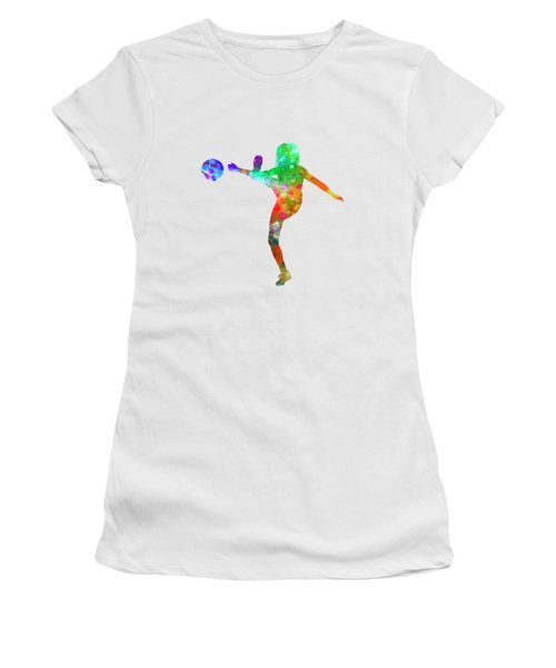 Woman Soccer Player 17 In Watercolor Women's T-Shirt (Junior Cut) by Pablo Romero