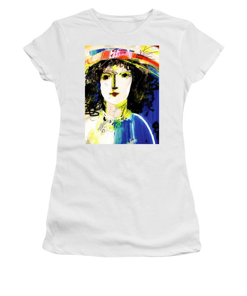 Woman With Party Hat Women's T-Shirt (Junior Cut) by Amara Dacer