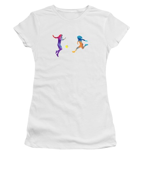 Women Soccer Players 01 In Watercolor Women's T-Shirt (Junior Cut) by Pablo Romero