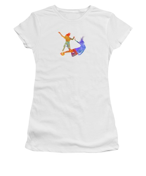 Women Soccer Players 02 In Watercolor Women's T-Shirt (Athletic Fit)