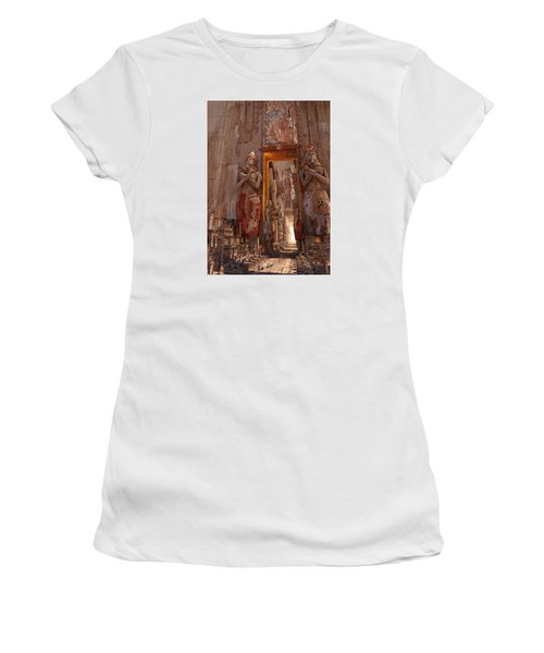 Women's T-Shirt (Junior Cut) featuring the digital art Wonders Door To The Luxor by Te Hu