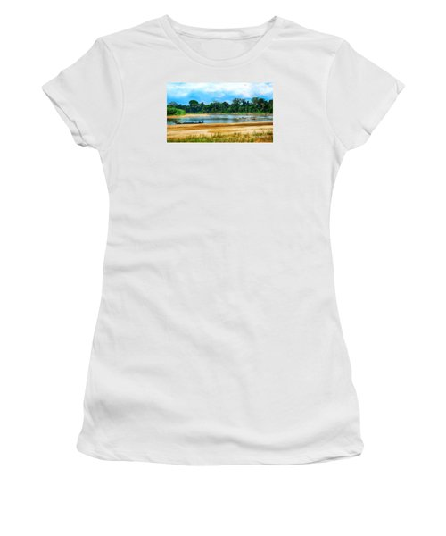 Wooden Boat In Backwaters Jungle Women's T-Shirt (Athletic Fit)