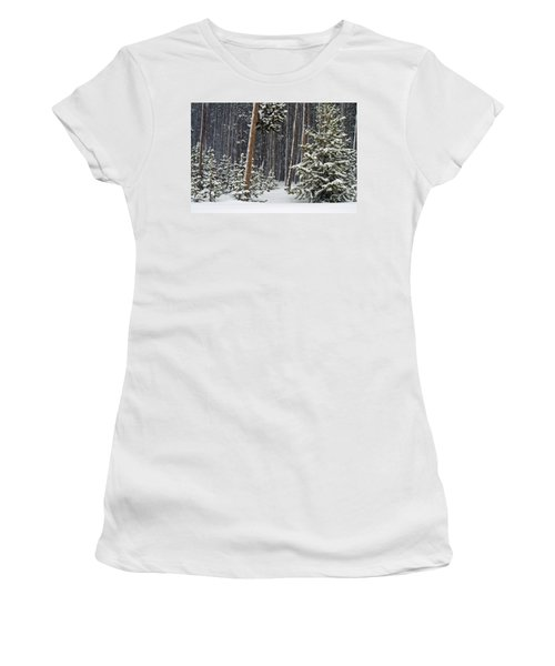 Woodland Snowstorm In Yellowstone Women's T-Shirt