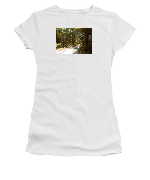 Women's T-Shirt (Junior Cut) featuring the photograph Woodsy Trail by Ginny Schmidt