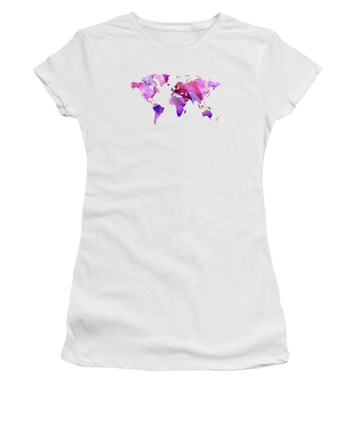 World Map 20 Pink And Purple By Sharon Cummings Women's T-Shirt