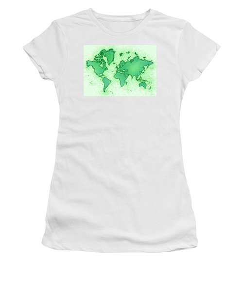 World Map Airy In Green And White Women's T-Shirt (Junior Cut) by Eleven Corners