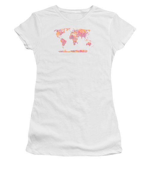 Women's T-Shirt (Junior Cut) featuring the painting World Map Watercolor Painting by Georgeta Blanaru