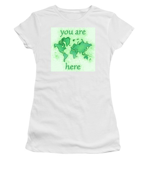 World Map You Are Here Airy In Green And White Women's T-Shirt (Athletic Fit)