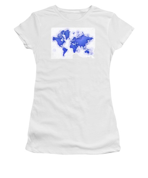World Map Zona In Blue And White Women's T-Shirt (Athletic Fit)
