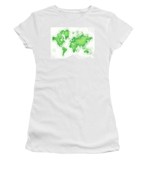 World Map Zona In Green And White Women's T-Shirt (Athletic Fit)
