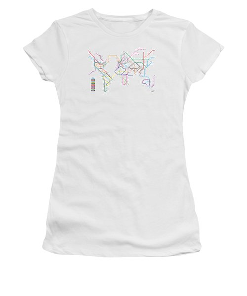 World Metro Tube Subway Map Women's T-Shirt (Athletic Fit)