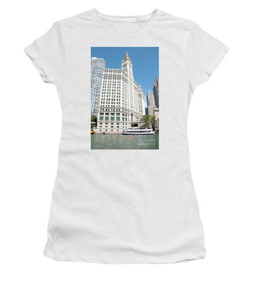 Wrigley Building Overlooking The Chicago River Women's T-Shirt