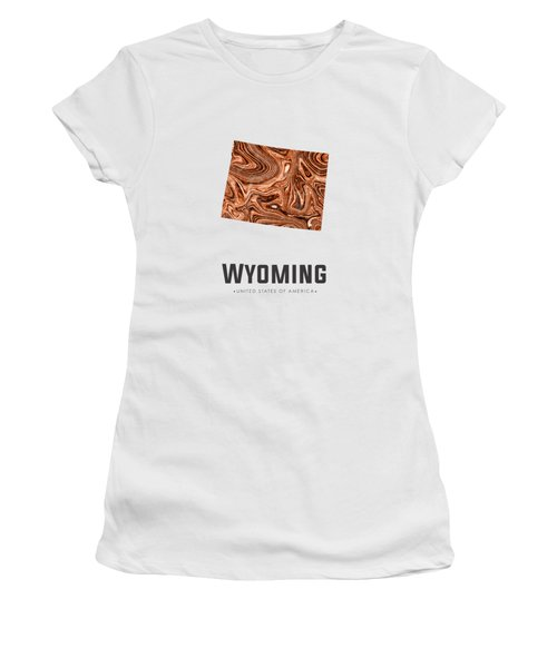 Wyoming Map Art Abstract In Brown Women's T-Shirt