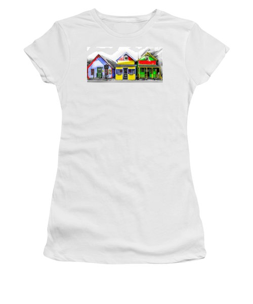 Women's T-Shirt featuring the photograph Yacht Street Cape May In Technicolor by Bill Cannon