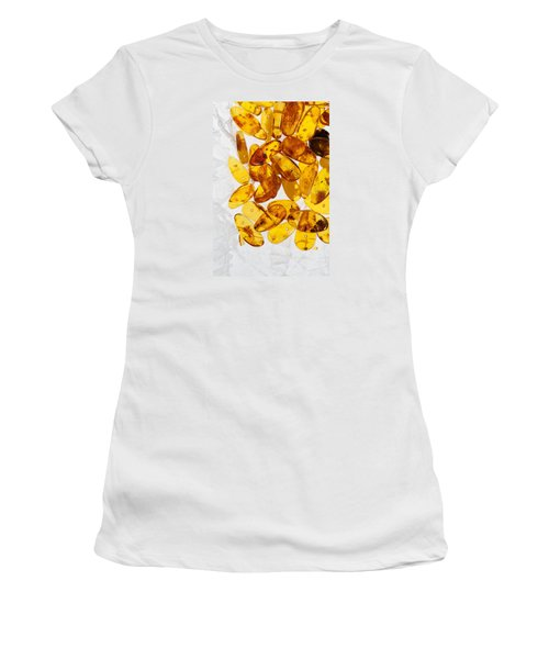 Women's T-Shirt (Junior Cut) featuring the photograph Yellow Amber Stones  by Andrey  Godyaykin