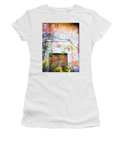 Yellow Flowers And Decayed Wall Women's T-Shirt (Athletic Fit)