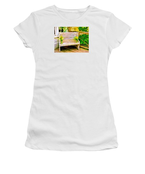 Yellow Flowers On Porch Bench Women's T-Shirt