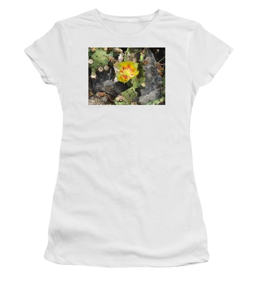 Yellow Cactus Flower Blossom Women's T-Shirt (Athletic Fit)