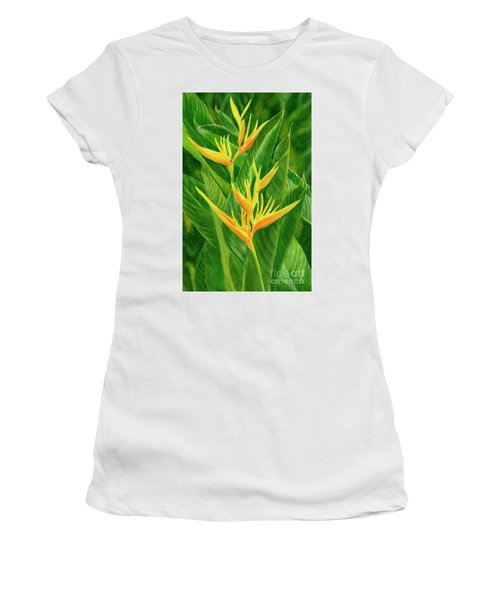 Yellow Orange Heliconia With Leaves Women's T-Shirt (Athletic Fit)