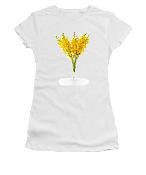Yellow Orchid In Crystal Vase Women's T-Shirt (Junior Cut) by Atiketta Sangasaeng