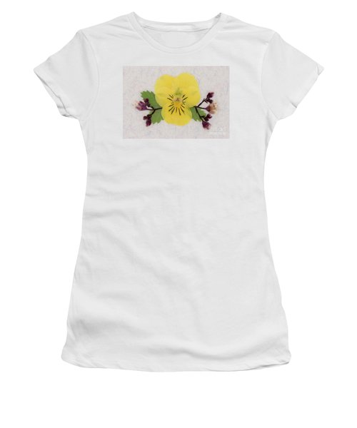 Yellow Pansy And Coral Bells Pressed Flowers Women's T-Shirt
