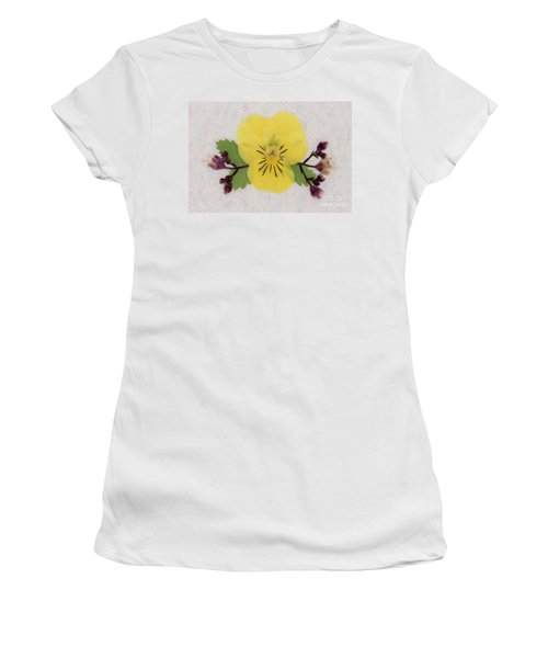 Yellow Pansy And Coral Bells Pressed Flowers Women's T-Shirt (Athletic Fit)