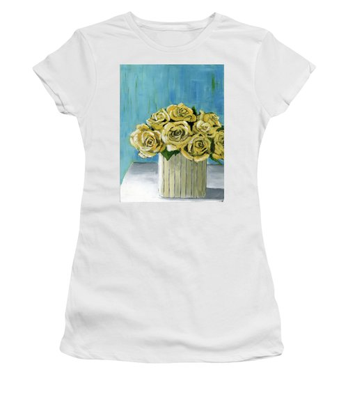 Yellow Roses In Vase Women's T-Shirt (Athletic Fit)