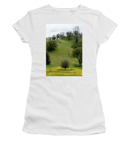 Yellow Wildflowers And Oak Trees Women's T-Shirt (Junior Cut) by Roger Mullenhour