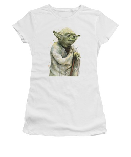 Yoda Watercolor Women's T-Shirt (Junior Cut) by Olga Shvartsur
