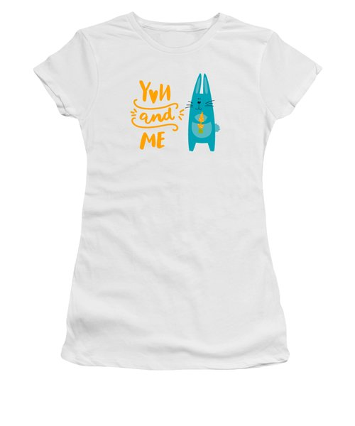 Women's T-Shirt (Junior Cut) featuring the digital art You And Me Bunny Rabbit by Edward Fielding