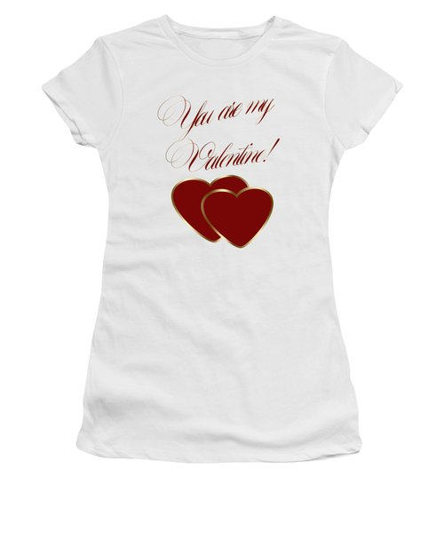 Women's T-Shirt (Junior Cut) featuring the painting You Are My Valentine Digital Typography by Georgeta Blanaru