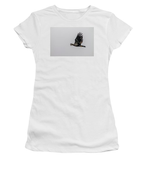 Women's T-Shirt (Junior Cut) featuring the photograph Young Eagle In Flight 07 by Timothy Latta