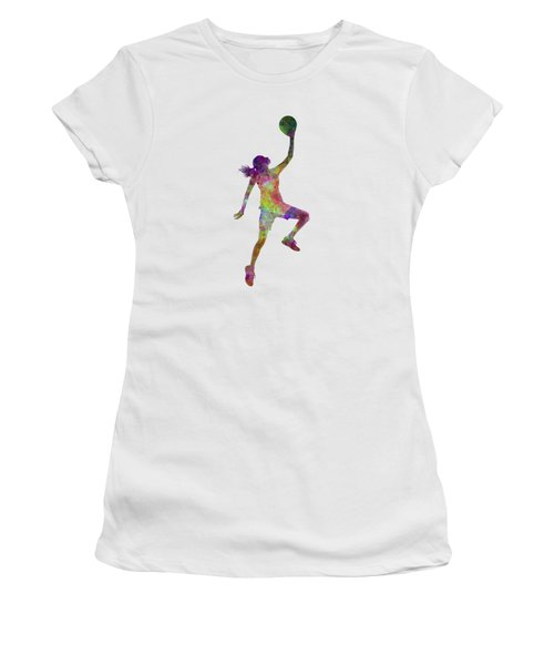 Young Woman Basketball Player 02 In Watercolor Women's T-Shirt (Junior Cut)
