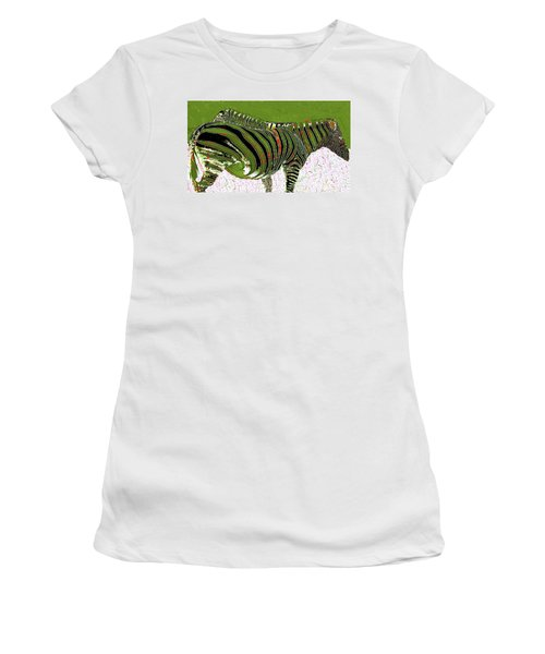 Women's T-Shirt (Athletic Fit) featuring the photograph Zany Zebra - Digitally Modified Photograph by Merton Allen