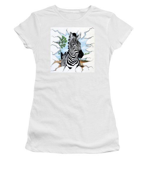 Women's T-Shirt (Junior Cut) featuring the painting Zany Zebra by Teresa Wing