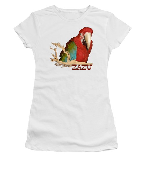 Zazu With Branch Women's T-Shirt (Junior Cut) by Zazu's House Parrot Sanctuary