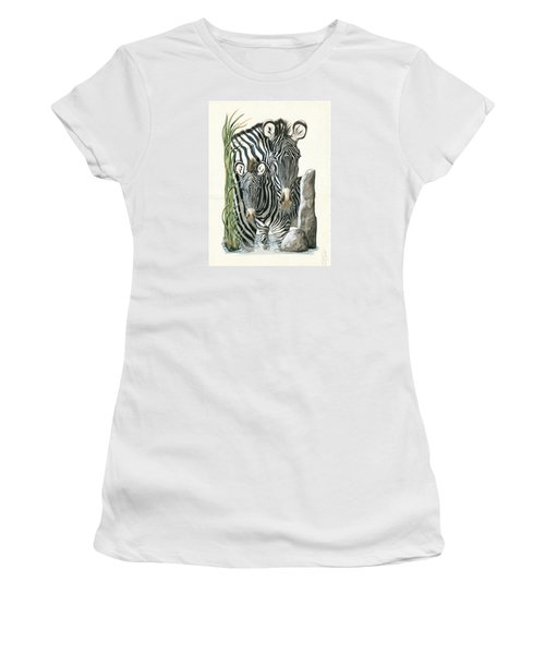 Zebra Mother And Colt Protect Our Children Painting Women's T-Shirt (Athletic Fit)
