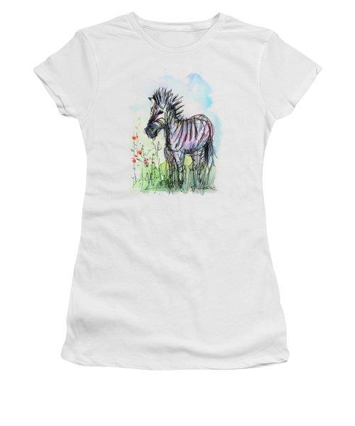 Zebra Painting Watercolor Sketch Women's T-Shirt