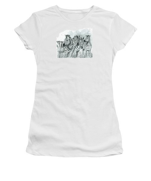 Zebra Quartet Women's T-Shirt (Junior Cut) by Phyllis Howard