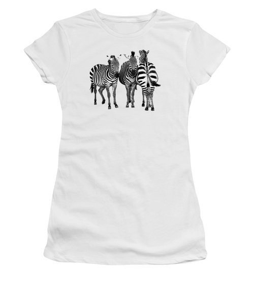 Zebra - Three's A Crowd Women's T-Shirt (Junior Cut) by Gill Billington