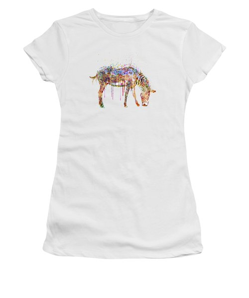 Zebra Watercolor Painting Women's T-Shirt (Athletic Fit)