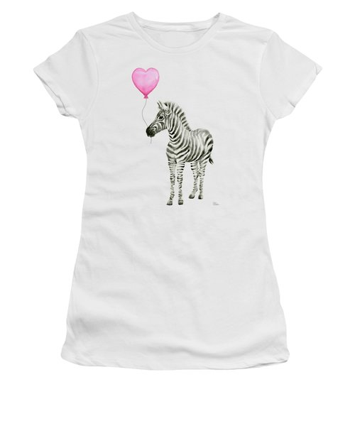 Zebra Watercolor Whimsical Animal With Balloon Women's T-Shirt (Athletic Fit)